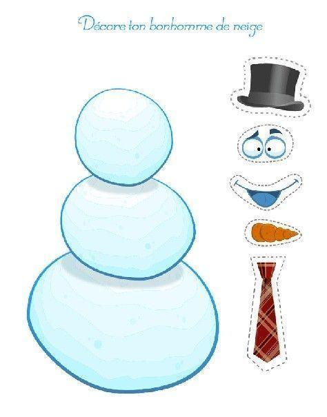 Hivers gommettes a imprimer - Modele bonhomme de neige ...