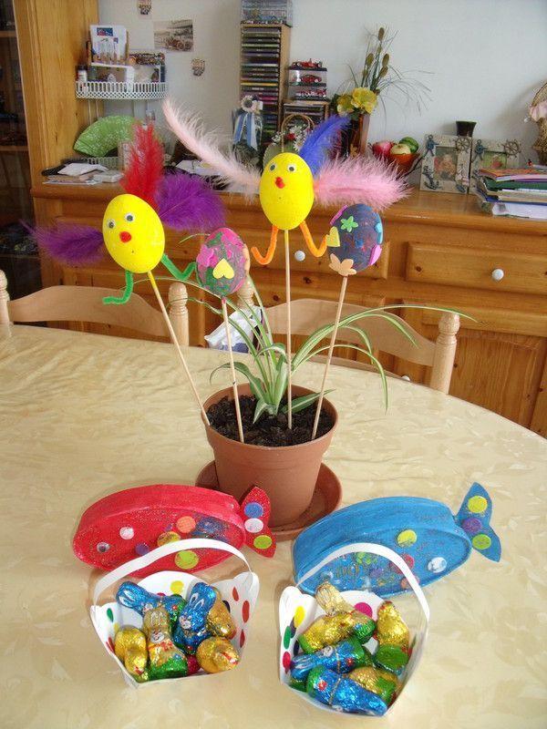 les oeufs peint et décorés avec des gommettes mousses autocollantes ...